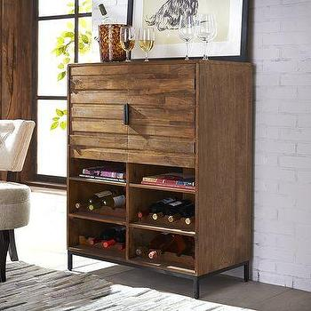 Beau Brown Wooden Panels Bar Cabinet