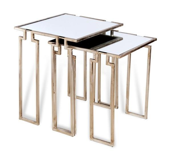 Stylecraft Barclay Brass 3 Piece Living Room Accent Table: Set Of 2 Gold Geometric Cut Outs Parker Nesting Tables