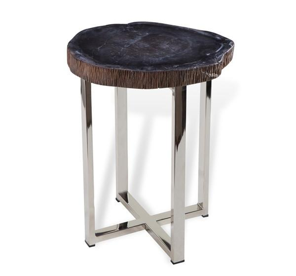 small petrified wood tripod metal side table