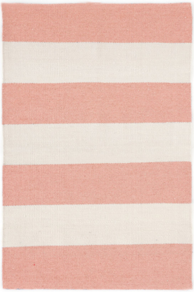 Pink And White Wide Stripes Rug