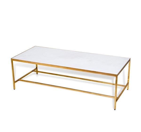 Rectangular Gold And White Marble Cocktail Table - Rectangle white marble coffee table