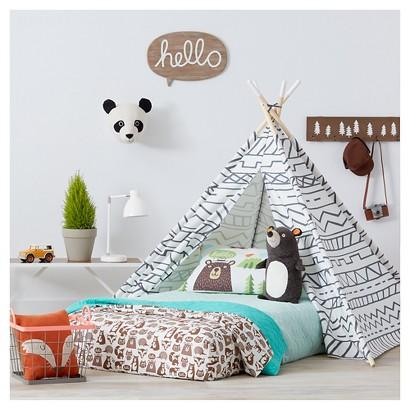 Grey And White Lines Teepee Pillow Fort