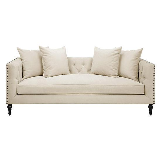 Ivory Diamond Tufted Nailhead Trim Sofa