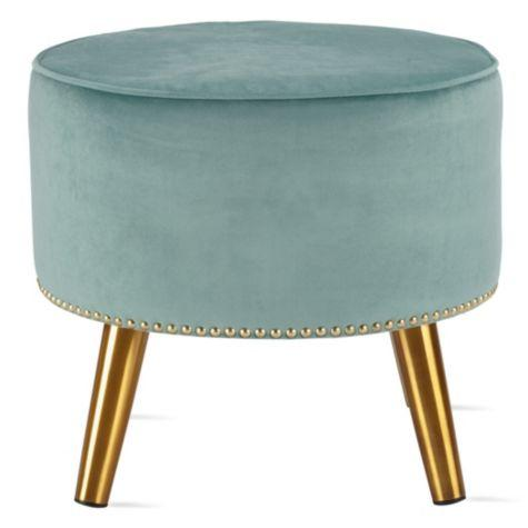 Blue Velvet Tufted Rectangular Ottoman