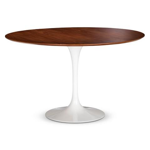 pedestal round white and brown dining table