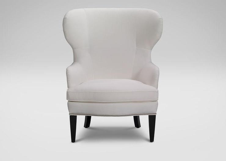 White Upholstered Wing Chair
