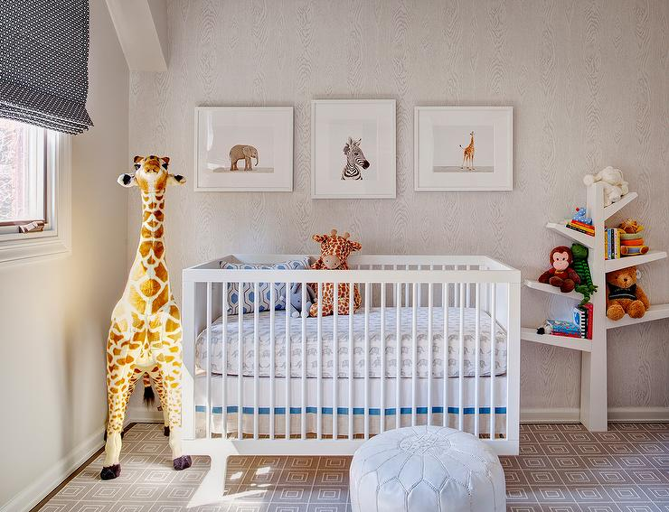 Boy Nursery With Faux Bois Wallpaper And Babyletto Spruce Tree Bookcase