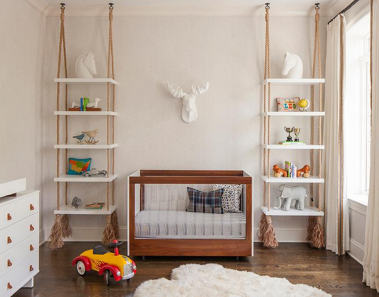 Boy Nursery With Rope Hung Shelves Transitional Nursery