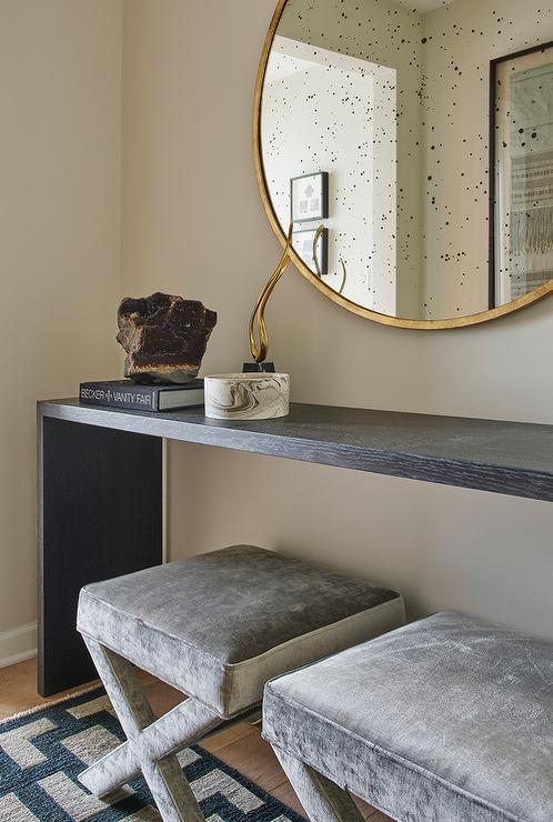 Console Table With Stools ~ Black waterfall console table with gray velvet stools