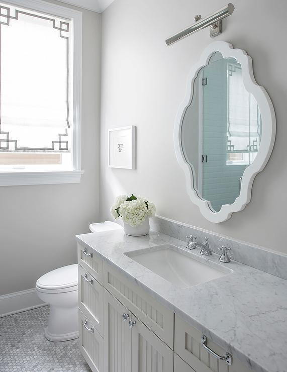 White And Gray Bathroom With Beadboard Vanity
