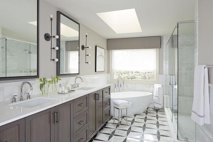Long Bathroom with Corner Tub