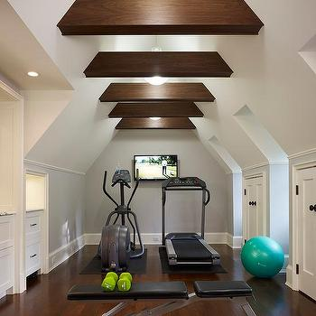 exercise room with black and white hand painted accent