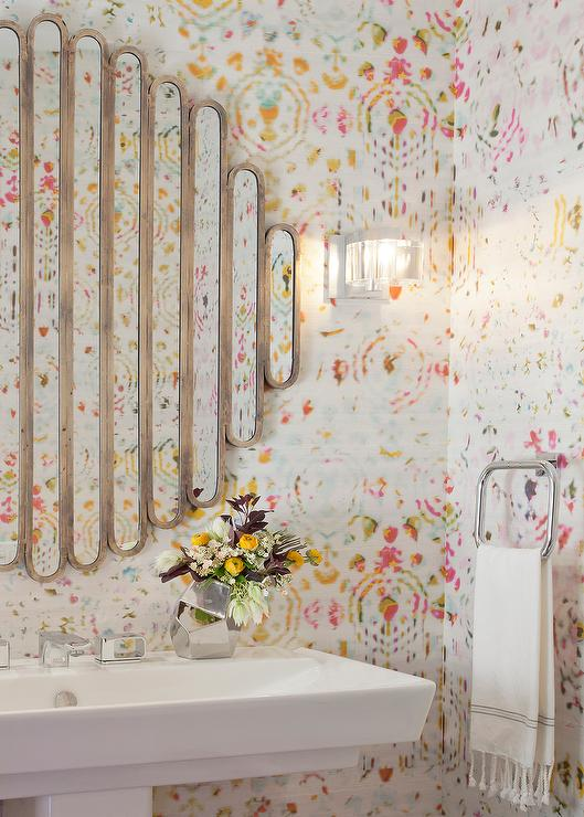 Bathrooms art deco powder room design ideas for Anthropologie wallpaper mural