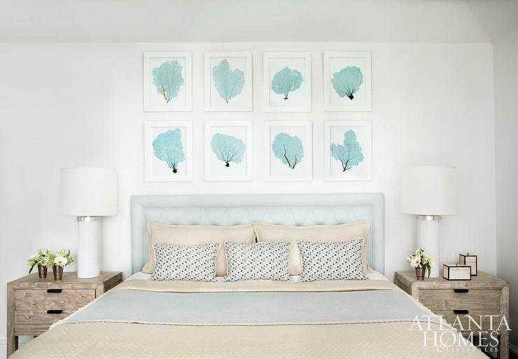 New White and Blue Bedroom with Turquoise Sea Fan Art Gallery Over  US64