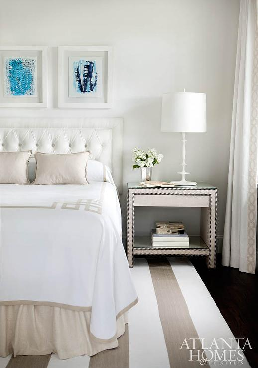 White and Beige Bedroom with Greek Key Bedding ...
