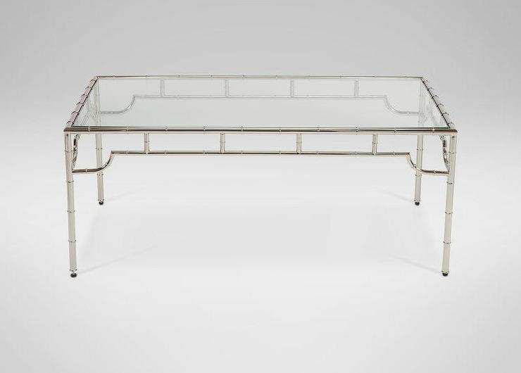 Glass Bamboo Motif Coffee Table
