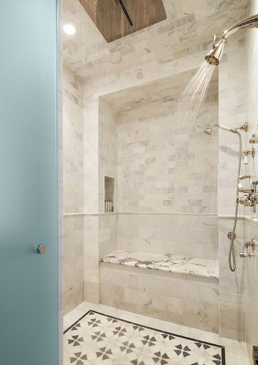 FRosted Glass Door Opens to Shower with Rain Shower Head ...