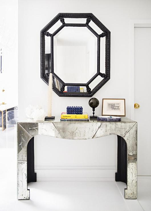 Antiqued Mirrored Console Table With Black Bamboo Mirror