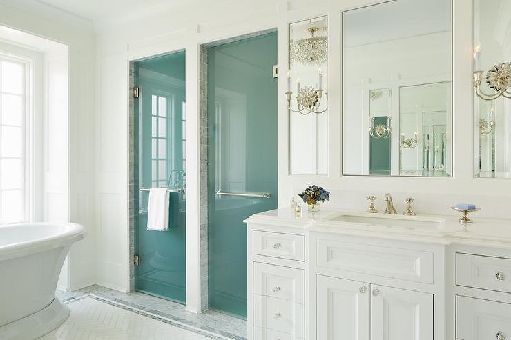 Frosted Glass Shower Doors master bathroom with frosted glass his and hers shower doors