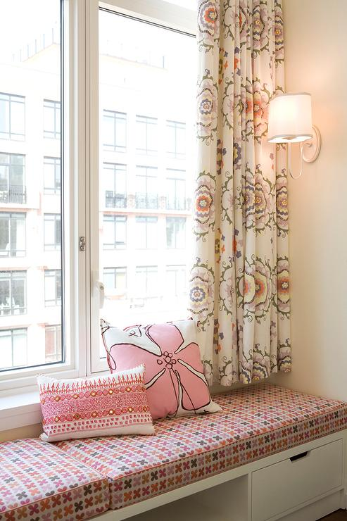 Cool Pink Kids Window Seat Bench And Curtains Transitional Customarchery Wood Chair Design Ideas Customarcherynet