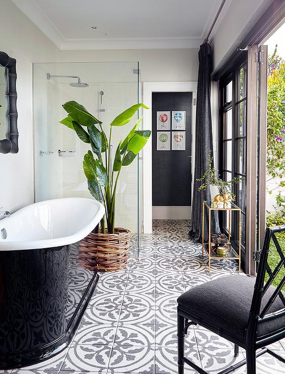 black and white floor tile. Black And White Bathroom With Concrete Floor Tiles