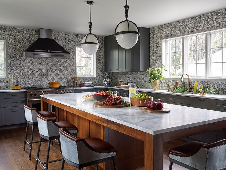 dark gray kitchen cabinets with gray mosaic tiles mosaic tile backsplash in kitchen