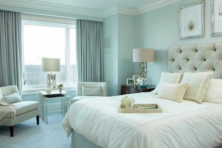 Gray and Blue Bedroom with Hidden Curtain Rods - Transitional ...
