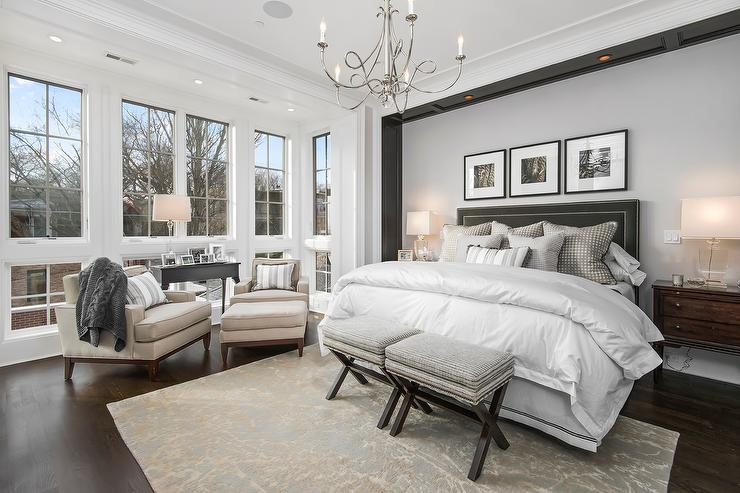 Master Bedroom With Headboard Nook Accented With Custom Lighting Transitional Bedroom