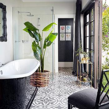 Black And White Bathroom With Black And White Concrete Floor Tiles