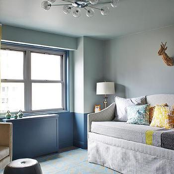 Exceptionnel Boy Nursery With Two Tone Walls And Skirted Daybed