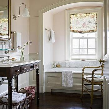 Pink Shabby Chic Bathroom With Arched Tub Alcove