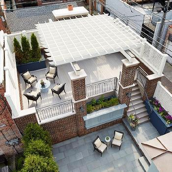 rooftop deck with lattice privacy screens