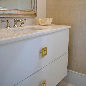 Lovely White Lacquered Washstand With Square Gold Hardware