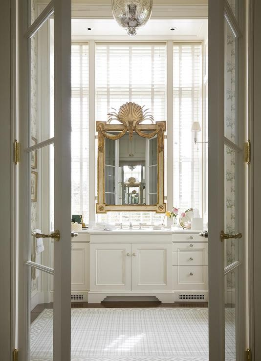 French Doors To Master Bathroom Transitional Bathroom
