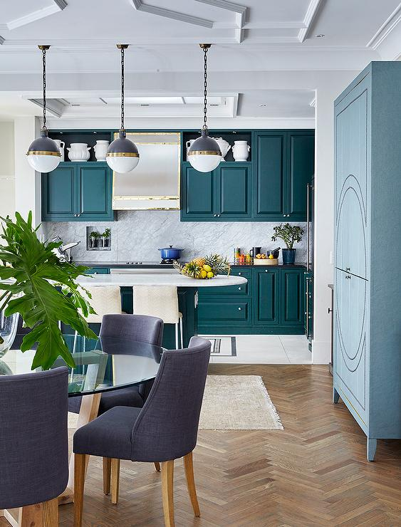 Peacock Blue KItchen Cabinets With Black Countertops