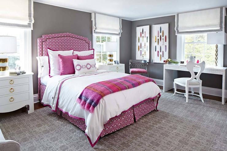 Pink and Gray Bedroom with Desk - Contemporary - Bedroom ...