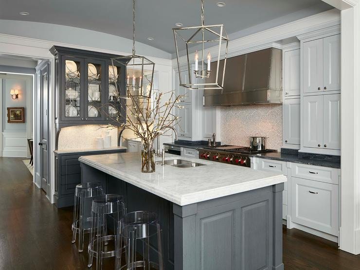 Light Gray Kitchen With Brass Bar Stools Transitional