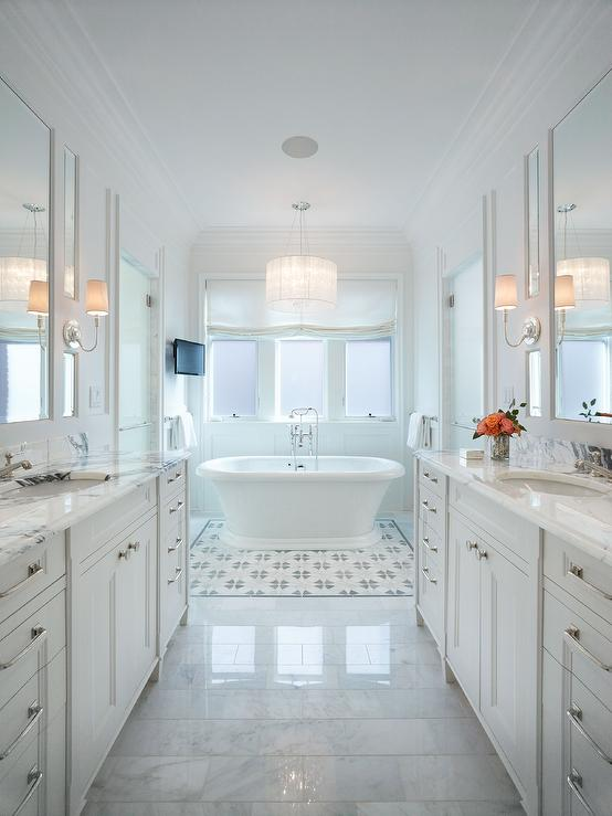 Long Master Bathroom With Washstands Facing Each Other Transitional Bathroom