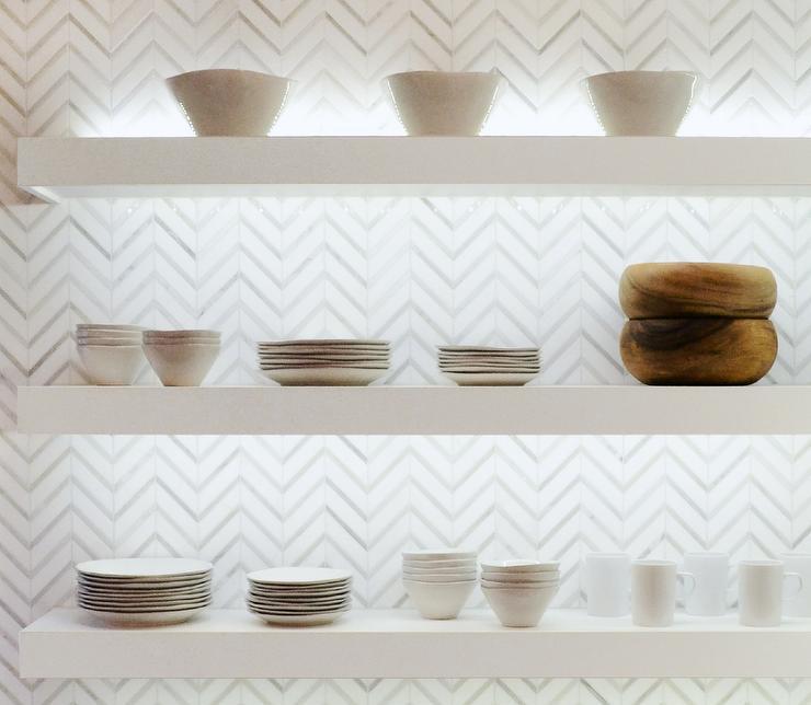 White And Gray Marble Chevron Tiles Design Ideas