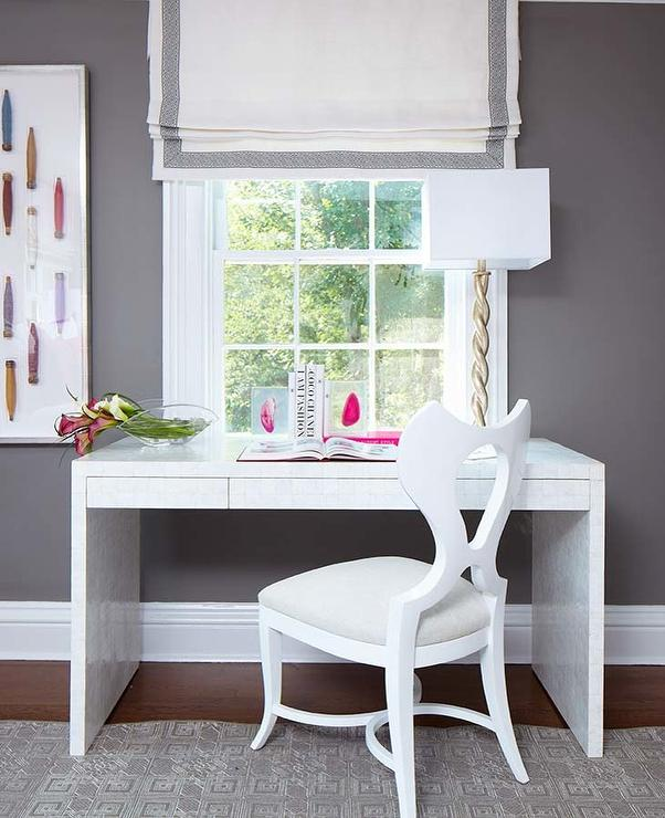 Gray Room With White Bone Inlay Desk Contemporary