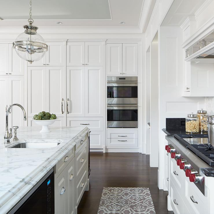 White Kitchen With Gray Tray Ceiling Transitional Kitchen