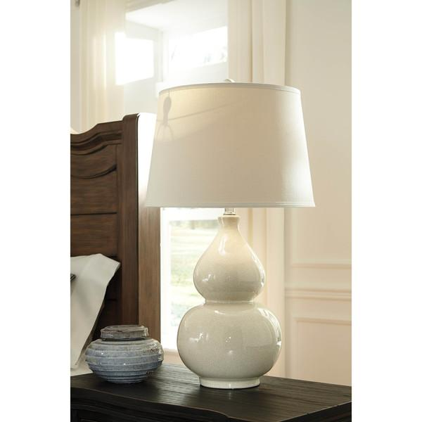 Crackle Cream Double Gourd Table Lamp