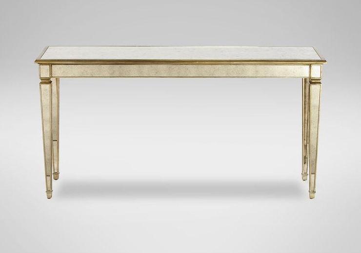 antique mirrored gold wood frame console table