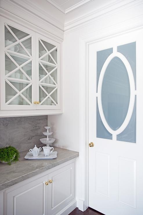 Frosted Glass Pantry Door With Oval Wood Trim Transitional Kitchen