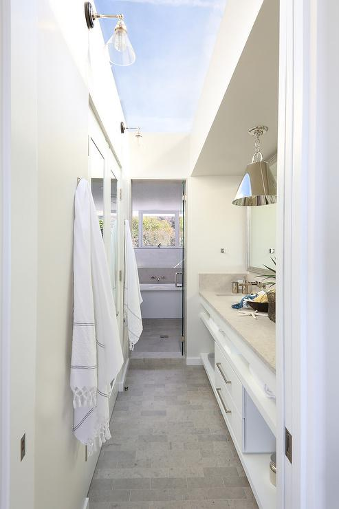 Galley style bathroom with glass ceiling cottage bathroom for Bathroom fashion