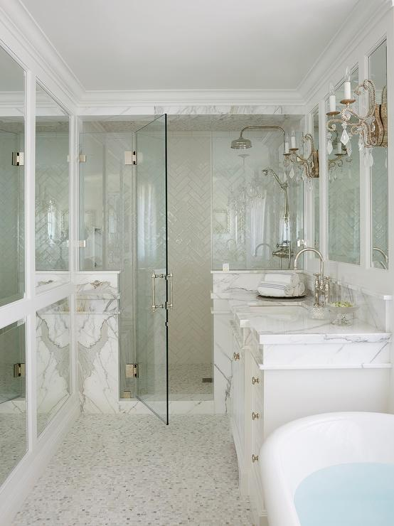 Glass Walk In Shower With White Chevron Tiles