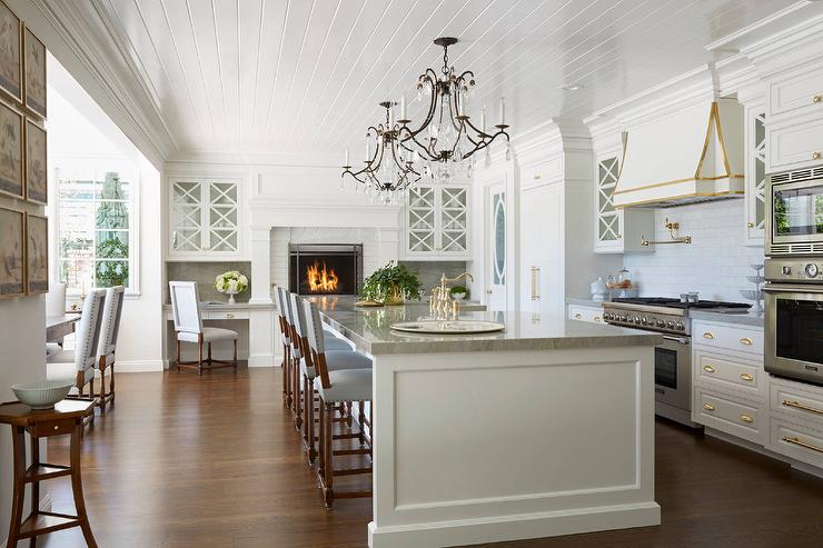 Gourmet Kitchen With Raised White Brick Fireplace