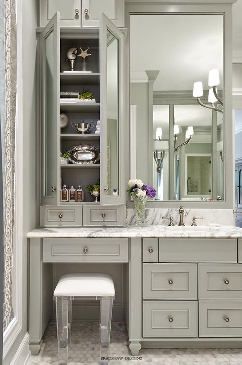 Gray bath vanity with lucite stool transitional bathroom for Bathroom vanity designs