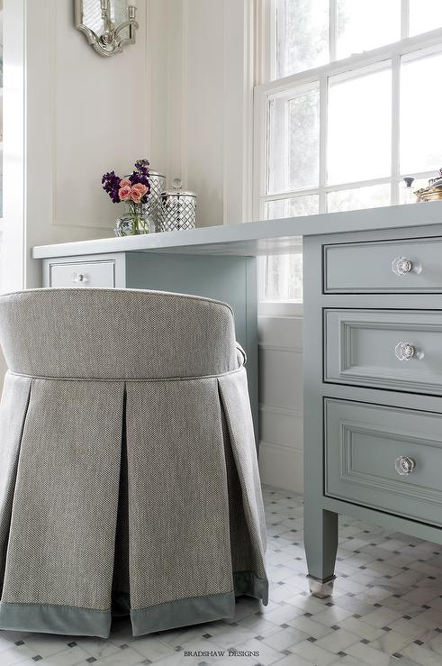 Blue Vanity Chair with Floating Makeup Vanity - Transitional ...