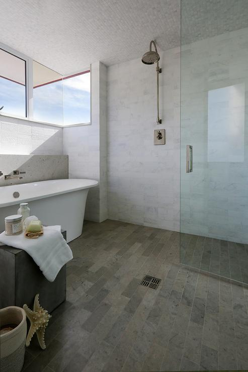 Industrial Style Bathroom With Open Shower Transitional Bathroom - Tiling a bathroom floor where to start